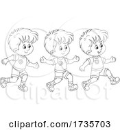 Three Boys Running In Black And White