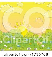 Poster, Art Print Of Sunrise Or Sun Set With Clouds And Bushes