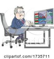 Poster, Art Print Of Happy Stock Trader Looking At Charts