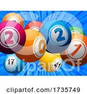 01/26/2021 - Twenty Twenty One Bingo Lottery Balls On Blue Background