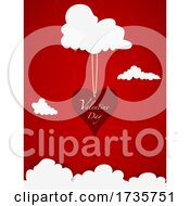Valentine Day Red Gift Card With Heart And Clouds