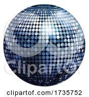 3d Blue Disco Mirror Ball