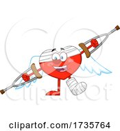Heart Cupid Character With Crutches