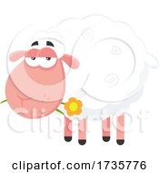 Sheep Chewing On A Flower by Hit Toon