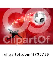 01/26/2021 - Soccer Silhouette Abstract Football Red Background