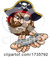 Pirate Gamer Video Game Controller Mascot Cartoon