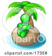 Lime Green Man Sitting All Alone With A Palm Tree On A Deserted Island Clipart Illustration