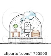 01/27/2021 - Stick Man Holding A Mask And Doing Yoga In A Snowglobe