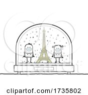 01/26/2021 - Stick Couple Wearing Masks By The Eiffel Tower In A Snowglobe