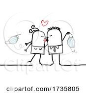Stick Couple Holding Masks And Kissing