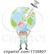 Poster, Art Print Of Doctor Holding Up A Heavy Earth With A Virus Vaccine