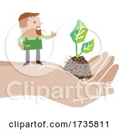 01/27/2021 - Farmer On A Hand With A Seedling Plant