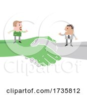 01/27/2021 - Farmer And Business Man On Giant Shaking Hands