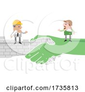 01/27/2021 - Engineer And Farmer On Shaking Brick And Green Hands