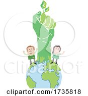 Angry Workers With A Fisted Green Hand On Earth
