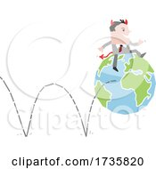 Poster, Art Print Of Devil Business Man On A Bouncing Earth