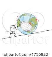 Poster, Art Print Of Stick Man Pushing A Masked Earth Up A Hill
