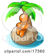 Orange Man Sitting All Alone With A Palm Tree On A Deserted Island Clipart Illustration