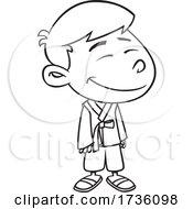 Cartoon Black And White Korean Boy