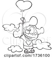 Poster, Art Print Of Cartoon Black And White Girl Floating With A Heart Balloon