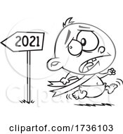 Cartoon Black And White New Year Baby Running From 2021 In Fear