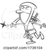 Cartoon Black And White Guy Throwing A Ninja Star