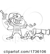 Cartoon Black And White Girl Pirate Holding A Pistol And Lighting A Canon