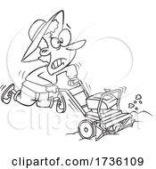 Cartoon Black And White Woman Using A Rototiller