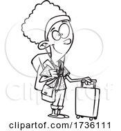 Cartoon Black And White Girl Traveling