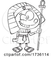 Cartoon Black And White Ancient Egyptian Boy