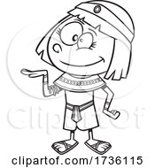 Cartoon Black And White Ancient Egyptian Girl
