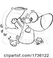 Cartoon Black And White Dog Engaging In A Pillow Fight