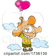 Cartoon Girl Floating With A Heart Balloon