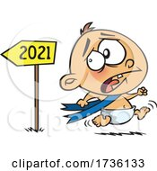Cartoon New Year Baby Running From 2021 In Fear