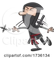 Cartoon Guy Throwing A Ninja Star