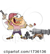 Cartoon Girl Pirate Holding A Pistol And Lighting A Canon