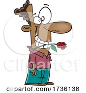 Poster, Art Print Of Cartoon Guy Biting A Rose And Being Romantic