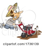 Cartoon Woman Using A Rototiller