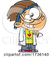 Cartoon Boy Wearing An I Love Science Shirt