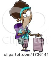 Cartoon Girl Traveling by toonaday
