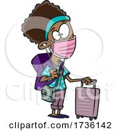 Cartoon Girl Wearing A Mask And Traveling During Covid