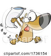 Cartoon Dog Engaging In A Pillow Fight