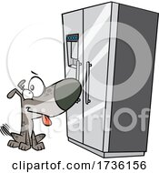 Cartoon Dog Looking Hopefully At A Fridge