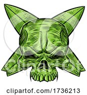 Green Skull Over Crossed Surfboards by Domenico Condello