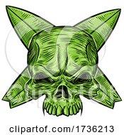Green Skull Over Crossed Surfboards