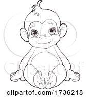 02/02/2021 - Cute Sitting Monkey In Black And White