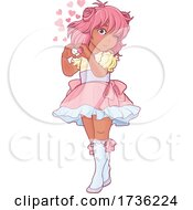 Poster, Art Print Of Pink Haired Anime Girl Forming A Heart With Her Hands