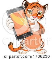 Cute Tiger Cub Holding Out A Smart Phone Or Tablet