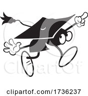 Black And White Mortar Board Character Running