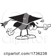 Black And White Mortar Board Character In Fear